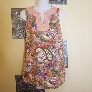 Valerie Bertinelli Linen Blend Paisley Print Sz S